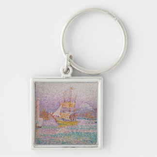 Harbour at Marseilles, c.1906 Silver-Colored Square Key Ring