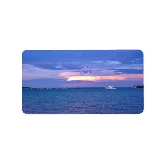Harbour at sunset address label
