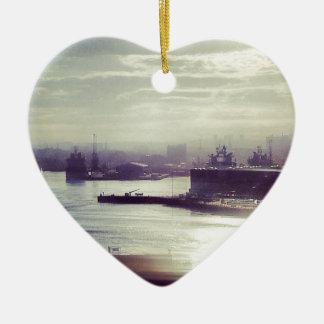 Harbour at twilight ceramic heart decoration