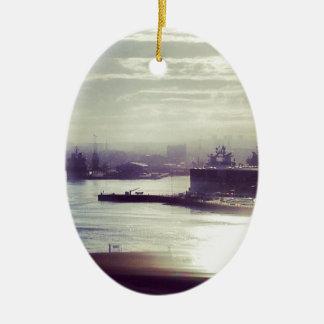 Harbour at twilight ceramic oval decoration