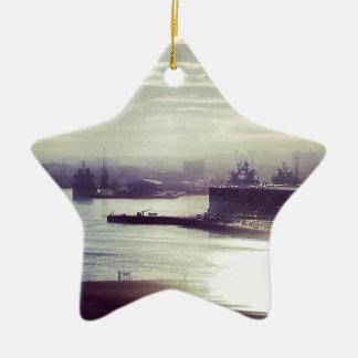 Harbour at twilight ceramic star decoration