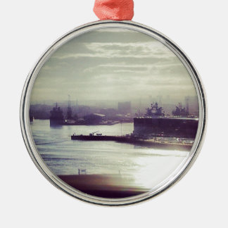 Harbour at twilight Silver-Colored round decoration