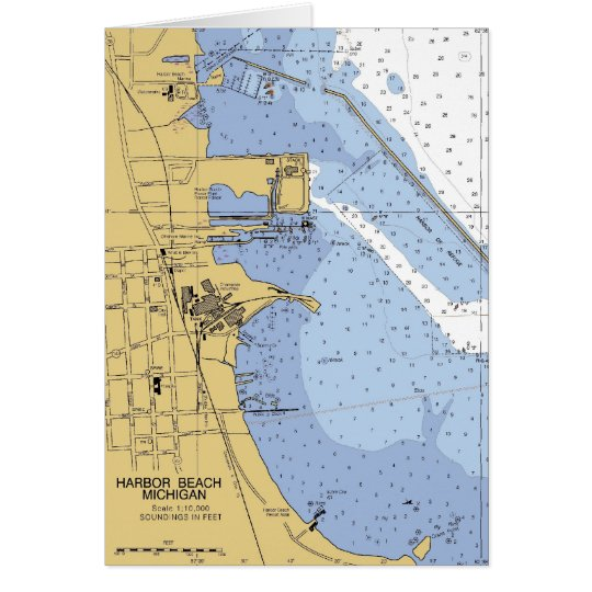 Harbour Beach, MI Nautical Harbour Chart Card