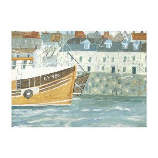 Harbour boat canvas print