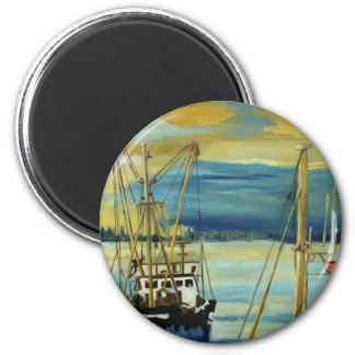 Harbour early morning 6 cm round magnet