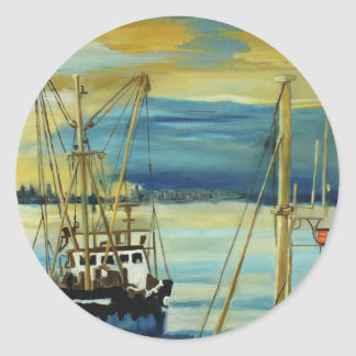 Harbour early morning classic round sticker