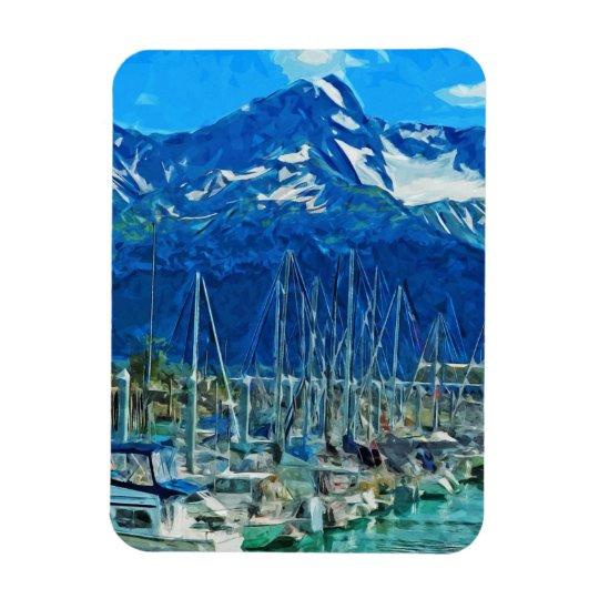 Harbour of Seward Alaska Abstract Impressionism Rectangular Photo Magnet