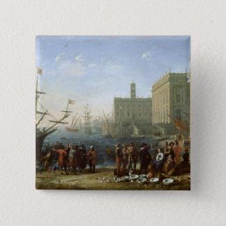 Harbour Scene 15 Cm Square Badge