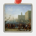 Harbour Scene Silver-Colored Square Decoration