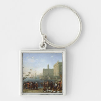 Harbour Scene Silver-Colored Square Key Ring