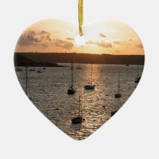 Harbour Sunrise Ceramic Heart Decoration