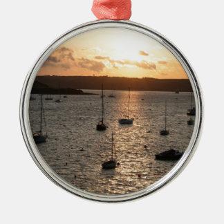 Harbour Sunrise Silver-Colored Round Decoration