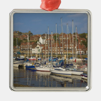 Harbour, Whitby, North Yorkshire, England Silver-Colored Square Decoration