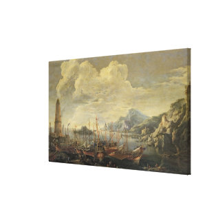 Harbour with Lighthouse and Ships (oil on canvas) Canvas Print