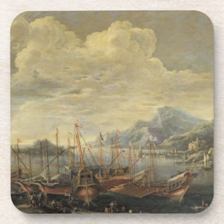 Harbour with Lighthouse and Ships (oil on canvas) Coaster