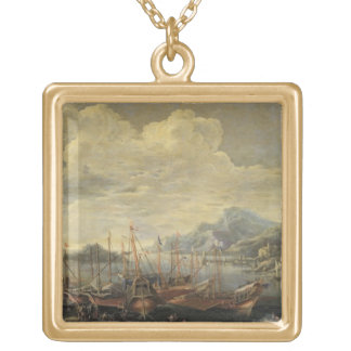 Harbour with Lighthouse and Ships (oil on canvas) Gold Plated Necklace