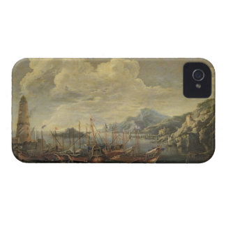 Harbour with Lighthouse and Ships (oil on canvas) iPhone 4 Case-Mate Case