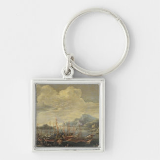 Harbour with Lighthouse and Ships (oil on canvas) Key Ring