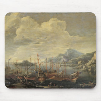 Harbour with Lighthouse and Ships (oil on canvas) Mouse Mat