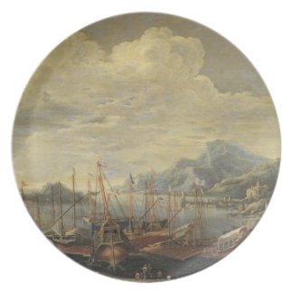 Harbour with Lighthouse and Ships (oil on canvas) Plate