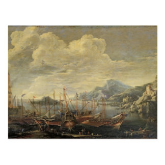 Harbour with Lighthouse and Ships (oil on canvas) Postcard