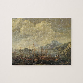 Harbour with Lighthouse and Ships (oil on canvas) Puzzle