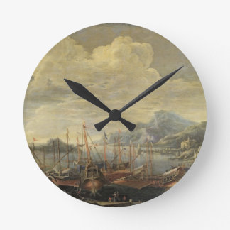 Harbour with Lighthouse and Ships (oil on canvas) Round Clock
