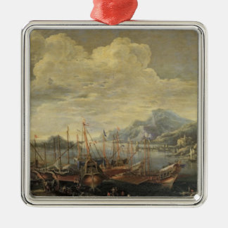 Harbour with Lighthouse and Ships (oil on canvas) Silver-Colored Square Decoration