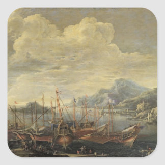 Harbour with Lighthouse and Ships (oil on canvas) Square Sticker