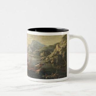 Harbour with Lighthouse and Ships (oil on canvas) Two-Tone Coffee Mug