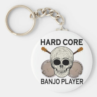 Hard Core Banjo Player Basic Round Button Key Ring