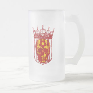 Hard core Spanish futbol fans skull shield gifts Frosted Glass Mug