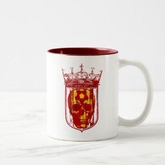 Hard core Spanish futbol fans skull shield gifts Two-Tone Mug