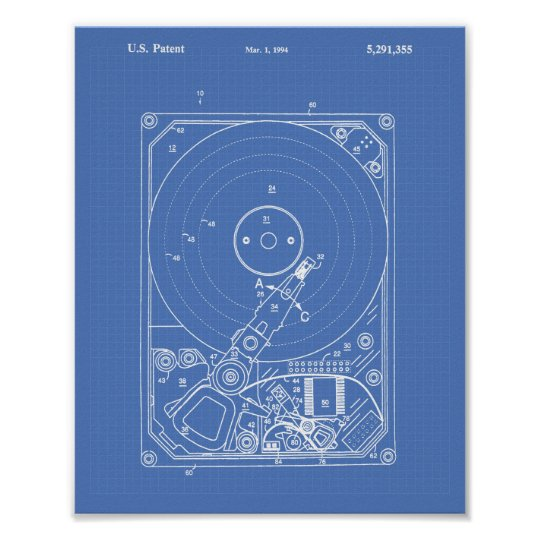 Hard Disc Drive 1994 Patent Art Blueprint Poster