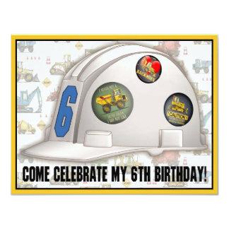 Hard Hat Construction 6th Birthday Party Invite