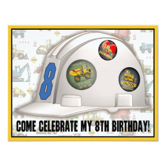 Hard Hat Construction 8th Birthday Party Invite