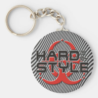 hard Is my style - hardstyle stripes Basic Round Button Key Ring
