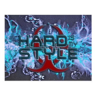 hard is my style - splattergrunge blue   hardstyle postcard