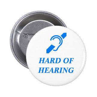 Hard of Hearing Blue on White Background 6 Cm Round Badge