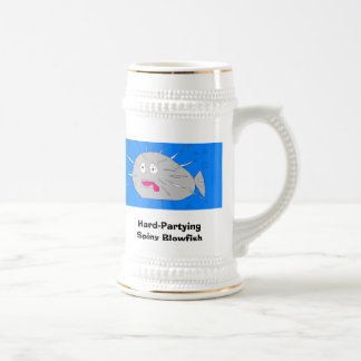 Hard Partying Spiny Blowfish - Customized Beer Stein