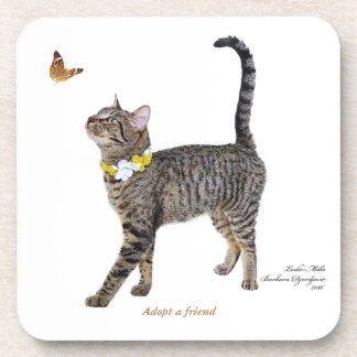Hard Plastic coasters featuring Tabatha, the Tabby