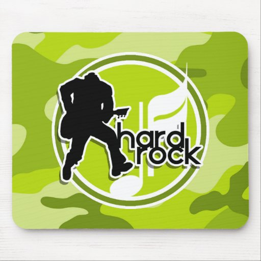 Hard Rock; bright green camo, camouflage Mouse Pad