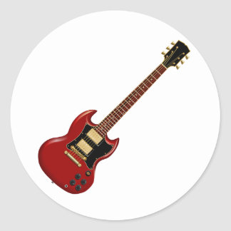 Hard Rock Electric Guitars (red) Round Sticker