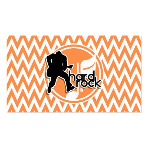 Hard Rock; Orange and White Chevron Business Card Template