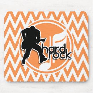 Hard Rock; Orange and White Chevron Mouse Mat