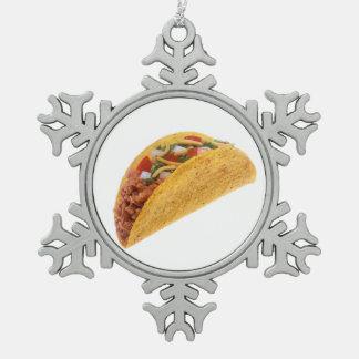 Hard Shell Taco Snowflake Pewter Christmas Ornament