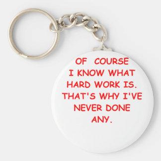 hard work basic round button keychain