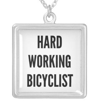 Hard Working Bicyclist Silver Plated Necklace