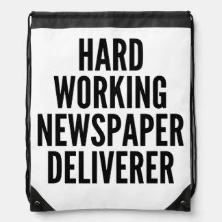 Hard Working Newspaper Deliverer Drawstring Bag