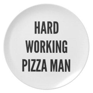 Hard Working Pizza Man Dinner Plates